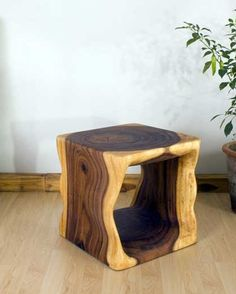 "#End #Table 16"" Natural Cube    Hand carved monkey pod wood"