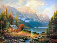 Oil Paintings By Thomas Kinkade | thomas kinkade the beginning of a perfect day painting - thomas ...