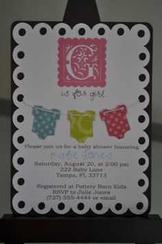 Baby Girl Shower Invitation $40 for 20 cards & envelopes