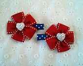 Red, White, Blue and Sparkly Heart Clips~Patriotic Clips~4th of July Flower Hair Clips with Sparkly Heart for~Baby/Infant~Toddler~Girl~Adult