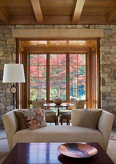 ツ by iSantano - Stone-lined sitting area and dining alcove by Anne Decker Architects. www.annedeckerarchitects.com