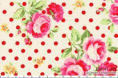 MinkyBear and Me Fabrics - Lecien Flower Sugar White/Red Spot Roses, $7.00 (http://www.minkybearandmefabrics.com.au/lecien-flower-sugar-white-red-spot-roses/)