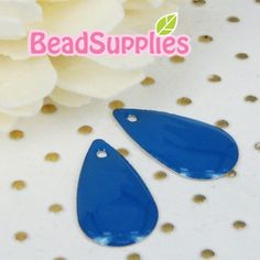 CH-CT-06008  Nickel free Colored tear drop tag by Beadsupplies (Craft Supplies & Tools, Jewelry & Beading Supplies, Beads, supply, brass, beadsupplies, beads, findings, tag, for cabochons, metal, colorful, unique, teardrop, turquoise blue)