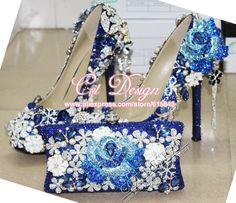 496d23895c6789 Customized Amazing Royal Blue Wedding Shoes pumps Bridal Shoes rhinestone High  heel pumps and Matching Blue Clutch Handbags(China (Mainland))