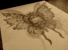 Beautiful Realistic Butterfly Drawings   20+ Skull Drawings - JPG Download