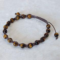 【高品質】タイガーアイ 6mm マクラメ編み込みブレスレット(平編み) 内径約17cm / Tiger's eye / Bracelet