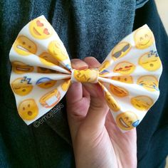 exclusive all emoji bow. dimensions are 4 inches by 3 inches. for smaller or bigger sizes or a custom design, email us! a cute accesory to spice up your outfit or a great gift for friends.