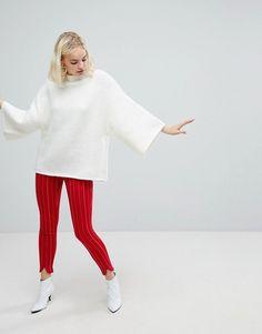 Monki Slim Leg Zip Pants - Red