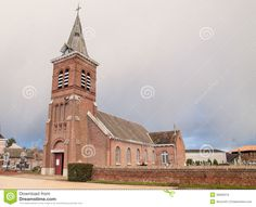 small churches of France | small, village church in France. Cloudy day. Old architecture.