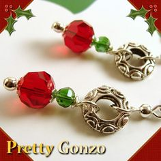 Holiday Earrings with Red and Green Crystals, Swarovski, Leverbacks | PrettyGonzo - Jewelry on ArtFire