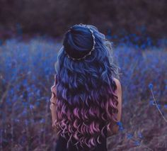 Imagen de hair, blue, and purple
