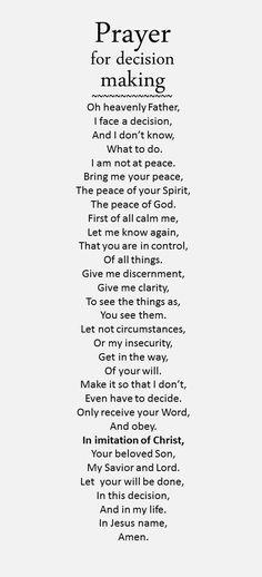 Prayer for decision...