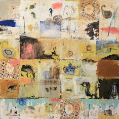 "Marti Somers | Letter to Robert Redford | encaustic, oil and mixed media on wood panel 44""x44"" /sm"