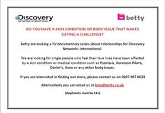 Attention do you live in the UK and have KP? Discovery Networks Int. is looking for you.