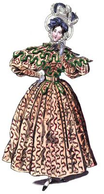 A stylish carriage dress is featured in an 1832 issue of La Belle Assemblée