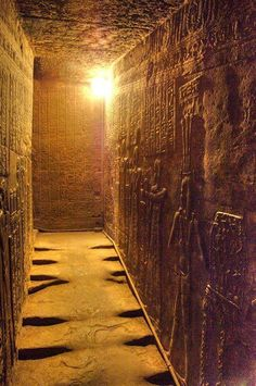 *EGYPT~Wow. Imagine walking down this hallway with your incense and your offerings for the goddess…Hathor Temple, Dendera, Egypt. The wall with guards relief. (Found here.)