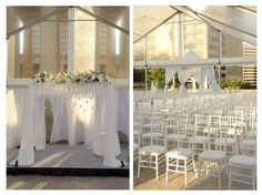 Elegant u0026 Modern white ceremony set-up Downtown Nashville | Fête Nashville & Omni Nashville Presidential Suite | Presidential Suites ...