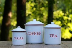 Set of Three Vintage #White and Red ##Enamel Canisters / Coffee, Tea, Sugar #Ename,  View more on the LINK: http://www.zeppy.io/product/gb/3/245472997/