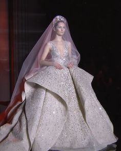 Zuhair Murad Look Spring Summer 2017 Couture Collection Uniq Embroidered Beige Wedding Dress / Bridal Ball Gown with Deep V-Neck Cut and a Train. Runway Show by Zuhair Murad Beige Wedding Dress, Sheath Wedding Gown, Western Wedding Dresses, Princess Wedding Dresses, Dream Wedding Dresses, Bridal Dresses, Wedding Gowns, Zuhair Murad, Beautiful Gowns