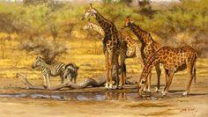 Wildlife Paintings, Wildlife Art, Animal Paintings, Animal Drawings, African Artwork, South African Artists, Africa Art, Prehistoric Animals, Museum Exhibition