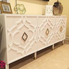 """O'verlays on Instagram: """"This console created by @ikea_mavens is spectacular! O'verlays Khloe Kit for Besta Door, IKEA Besta console, @prettypegs furniture legs and door pulls...where did they get those door pulls??"""""""