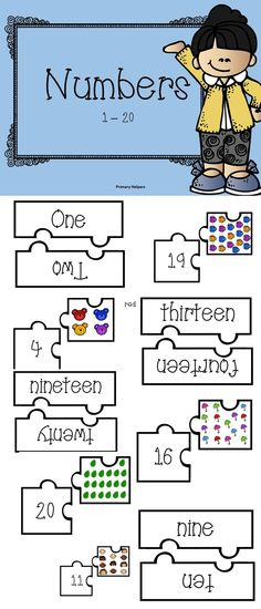 This is an easy way for students to practice with numbers 1 to 20 in written form as well  as counting.