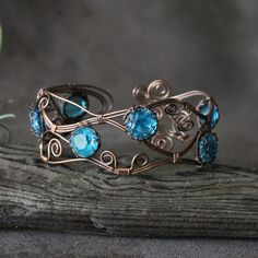 """Wire Wrapped Open Copper Cuff: """"Cool Caribbean Wave"""""""