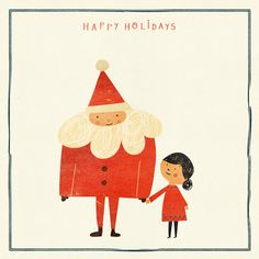 happy holidays! by blancucha, adorable santa illustration, christmas card, drawing