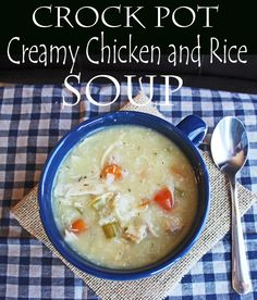 Crock Pot Creamy Chicken and Rice Soup from Jamie Cooks It Up!