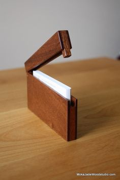 Slim business card holder-Mahogany $45