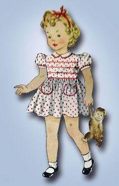1950s Toddler Girls Dress Vintage 1942 Simplicity Sewing Pattern 4175 Size 2 21B…