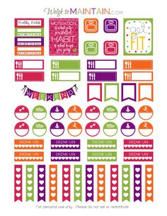 FREE printable healthy habits stickers in bright colors!  Track to do's workouts, meals and other goodies with these printable stickers.  Use them in a Happy Planner, Erin Condren, or other planner.  See WeighToMaintain.com for lots of lifestyle, health and fitness printables.