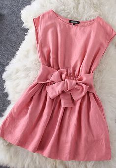 Bow pink dress