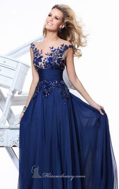 Big Discount 2014 New Arrival See Through Cap Sleeves Sequins Lace Navy Blue Long Prom Dresses Formal Evening Gowns $119.00