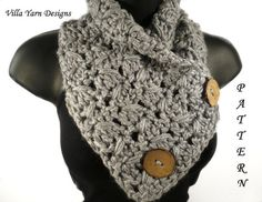 Easy Crochet Pattern for Cowl Scarf with Buttons. This is a pattern for the pictured cowl and is not a finished item. I do have this and many