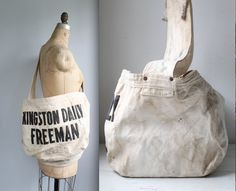 vintage 1950s newspaper bag. Kingston Daily Freeman delivery