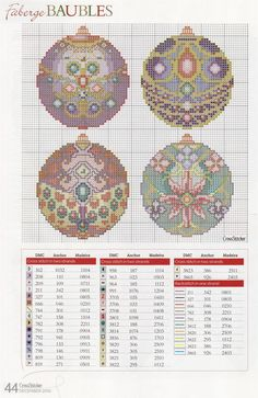 Faberge cross stitch baubles - natty's cross stitch corner