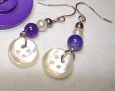 Vintage Button Jewelry -Assemblage & Handmade Jewelry by LilyBankButtonDesign Button Earrings, Beaded Earrings, Beaded Jewelry, Button Jewellery, Handmade Jewelry, Pearl Earrings, Drop Earrings, Unique Jewelry, Purple Haze