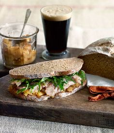 Perfect match: roast pork and apple sandwich with stout