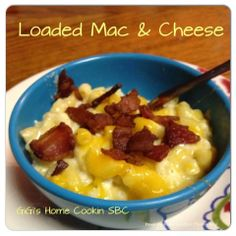 Loaded Mac & Cheese  Ingredients: 1 pound bacon 1 (16 ounce) box of elbow macaroni 1 Cup of milk 3 eggs 1- 16 oz sour cream (2 cups) 16 oz shredded Cheddar Cheese 16 oz shredded Pepper Jack Cheese 1 tsp of garlic salt 1/2 tsp pepper 1/2 tsp onion powder 1/2 tsp paprika  Directions:  Fry bacon until crisp; drain and crumble. Set aside.  Preheat oven to 350.  Cook pasta according to the package. Drain well.  In a large bowl combine milk, eggs, sour cream, and seasonings. Whisk together until…