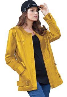 Roamans Plus Size Scuba Leather Jacket for only $82.49