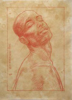 Jim FitzPatrick. Damon 3. Sanguine on washed paper. 1997.