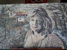Mozaiek zelf portret. Lily van Nunen voor haar eigen atelier in Friuli Italie