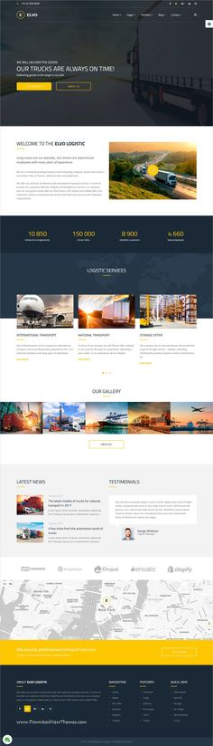 Elvo is clean and modern design responsive multipurpose #Joomla template for #logistics and #transport company website with 18+ niche homepage layouts to live preview & download click on Visit