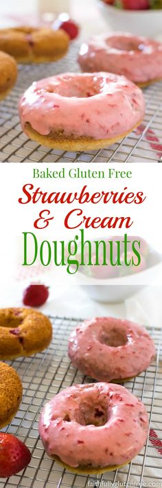 These Baked Gluten Free Strawberry Doughnuts, naturally flavoured with sweet, juicy berries, will satisfy even the worst doughnut craving! Gluten Free Doughnuts, Gluten Free Sweets, Gluten Free Cakes, Gluten Free Cooking, Gluten Free Recipes For Breakfast, Gluten Free Breakfasts, Foods With Gluten, Dairy Free, Muffins