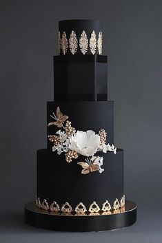 Black And White Wedding Cakes Ideas ❤ See more: http://www.weddingforward.com/black-and-white-wedding-cakes/ #weddingforward #bride #bridal #wedding #weddingcakes