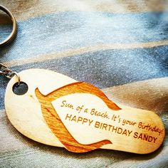 Happy birthday keychain. Custom made with a lasercutter.