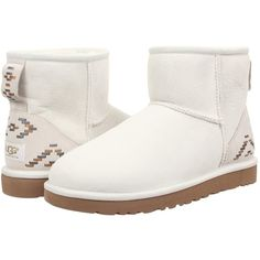 UGG Classic Mini Rustic Weave Women's Boots, White ($116) ❤ liked on Polyvore featuring shoes, boots, white, embellished shoes, embellished boots, glitter boots, white slip on shoes and slipon boots