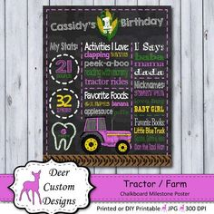 This pink tractor chalkboard birthday poster / milestone poster is the perfect way to celebrate your a girl birthday down on the farm. The farm birthday poster is personalized with your child's name and milestone details and can be created for any age. Tractor Birthday, Farm Birthday, Pink Tractor, 1st Birthday Chalkboard, Little Blue Trucks, First Birthday Party Themes, Chalkboard Poster, Digital Invitations, First Birthdays