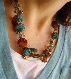 Crochet Wire Necklace in teal, orange and bronze - Chunky cut glass beads crocheted on vintage bronze artistic wire